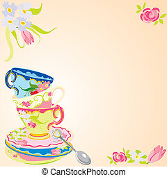 Tea party invitation - Stacked tea cups on a tea stained...