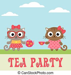 Tea party invitation with cute kitty girls