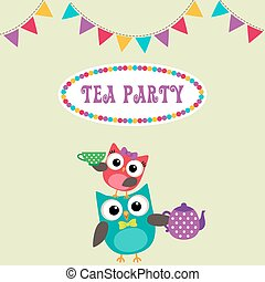 Tea party invitation with cute owls