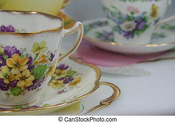 tea party - tea cups ready for bridal tea