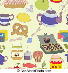 Tea Party with cup of tea and desserts, fruits