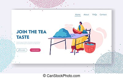 Tea Picker in Traditional Indian Dress Sorting Fresh Green Leaves of Tea and Put to Basket at Plantation. Job, Agriculture. Website Landing Page, Web Page. Cartoon Flat Vector Illustration, Banner