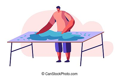 Tea Picker Male Character in Traditional Indian Dress Sorting Fresh Green Leaves of Tea for Sale on Table Surface at Plantation. Man Worker Job Summertime Occupation. Cartoon Flat Vector Illustration