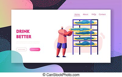 Tea Picker Man in Indian Dress Place Fresh Green Leaves of Tea on Special Shelves for Drying at Plantation. Worker, Agriculture Website Landing Page, Web Page. Cartoon Flat Vector Illustration, Banner