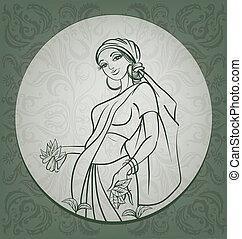 Young woman. Design with line drawing of tea picker and ornamental background