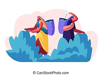Tea Pickers Female Characters in Traditional Indian Dresses Collecting Fresh Leaves of Tea into Basket on Back at Plantation. Women Workers Job Summertime Occupation. Cartoon Flat Vector Illustration