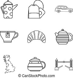 Tea place icons set, outline style