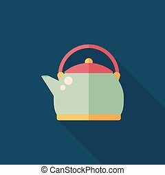 tea pot flat icon with long shadow, eps10