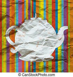 Tea pot funny background on the paper texture