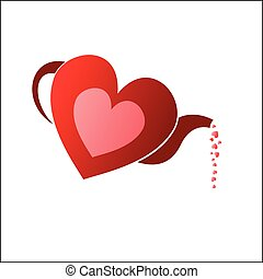 Tea pot heart - Vector illustration - Tea pot heart.