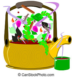 Tea pot - Illustration of a teapot brewing healthy herbal...