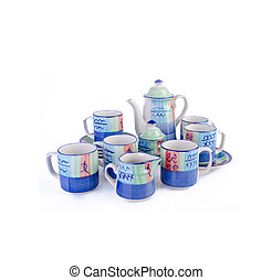 tea pot set, Porcelain tea pot and cup on background