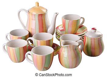 tea pot set, Porcelain tea pot and cup on white background