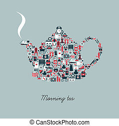 Tea pot silhouette created from retro style flat icon.