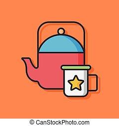 tea pot vector icon