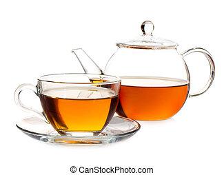 tea pot with tea and cup
