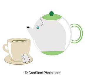 tea pot with tea cup