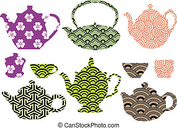 tea pots and cups with asian patter - set of tea pots and...