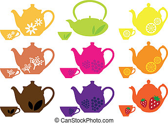 set of tea pots and cups with different fruits, vector design elements