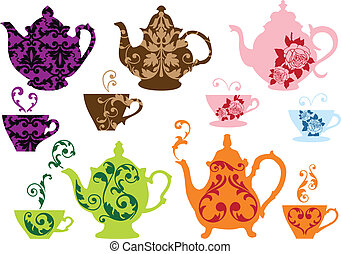 vintage tea pots and cups with baroque pattern, vector set