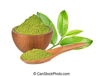 Tea powder on white background