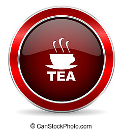 tea red circle glossy web icon, round button with metallic border