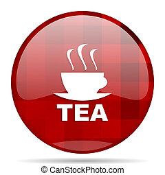 tea red round circle glossy modern design web icon