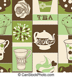 tea, retro, motívum, seamless, cupcake