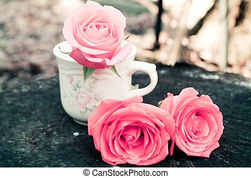 Tea Roses - still life of pink roses and a tea cup