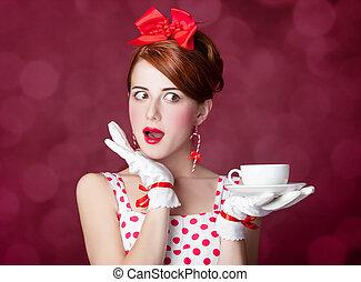 tea., rosso, donne, tazza, bello