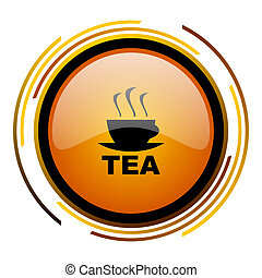 tea round design orange glossy web icon