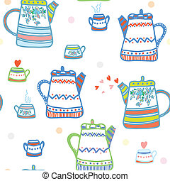 Tea seamless pattern with pots and cup cute design
