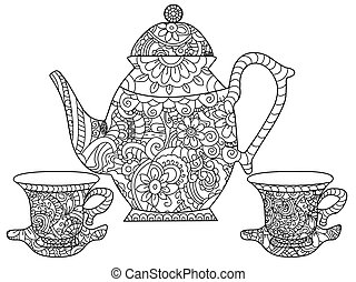 Tea service Coloring book vector for adults
