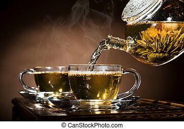 tea service - horizontal photo, of the glass teapot flow ...