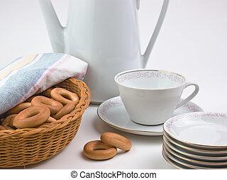 tea set and bagels