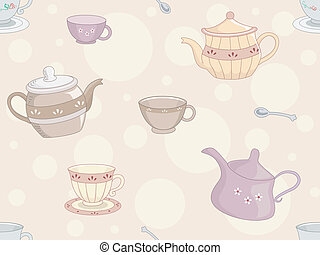 Tea Set Background - Background Illustration of Tea Set