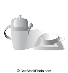 Tea set gray on a white background, Vector design.