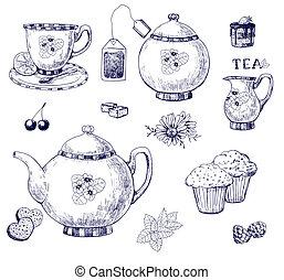 Tea set, hand-drawn illustration
