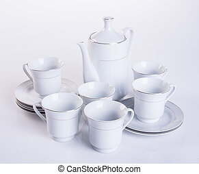 tea set or porcelain tea set on background. - tea set or...