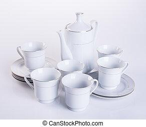 tea set or porcelain tea set on background. - tea set or...