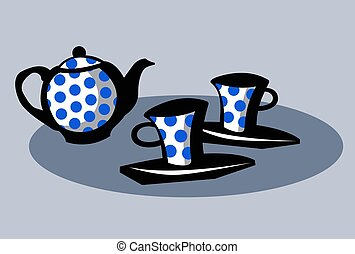 Tea-set. Teapot and two cups.