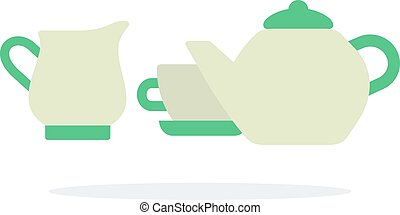 Tea-set vector flat isolated