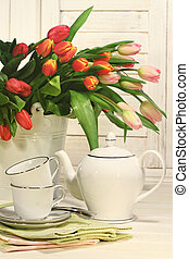 Tea set with flowers for Easter