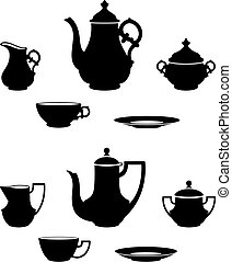 Tea sets - Two different tea sets black and white ...