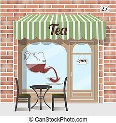 Tea shop facade. - Tea shop building. Facade of brick. Tea...