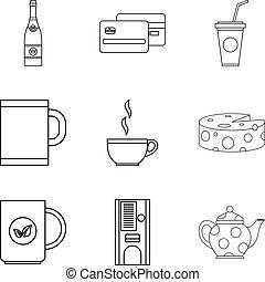 Tea shop icon set, outline style