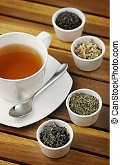 Tea - Cup of tea with different sorts of tea leaves in bowls