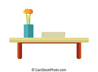 Tea Table with Flower in Pot