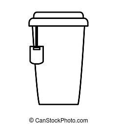 tea, takeaway in paper bag line icon