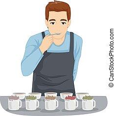Tea Tasting Man Illustration